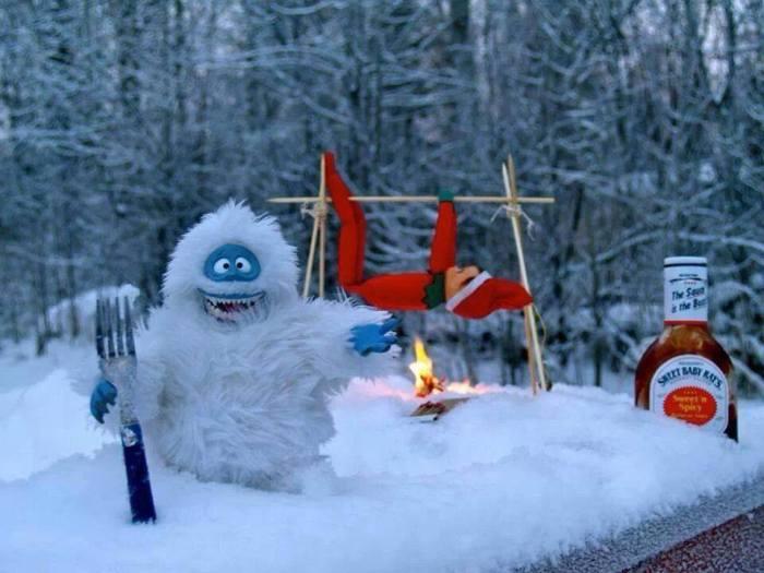Elf nuts roasting on an open fire...