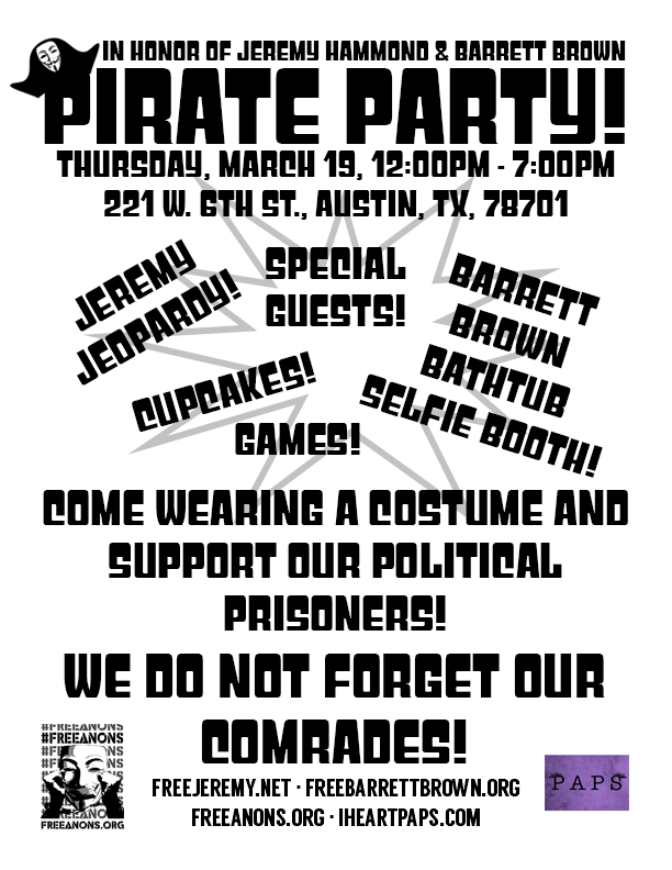 Pirate Party Flyer for Jeremy Hammond and Barrett Brown