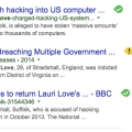 Screen Shot of a google search result showing the FBI's official press release relating to the case of Lauri Love 2015-03-13 at 5.54.31 PM