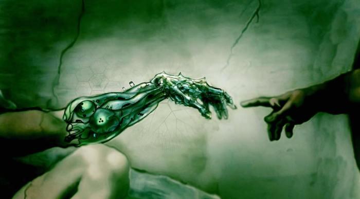 Cyberpunk Adam and God by John F Stifter via Cyberpunk on Facebook
