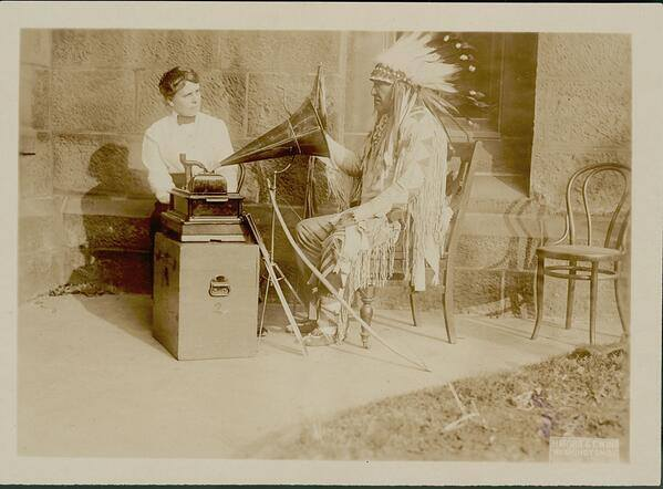 Mountain Chief, Blackfeet & Frances Densmore.Washington DC . 1916. Mountain Chief worked to preserve Blackfeet songs. via Anonymous First Nations on Facebook