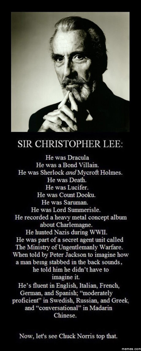 A brief history of Sir Christopher Lee