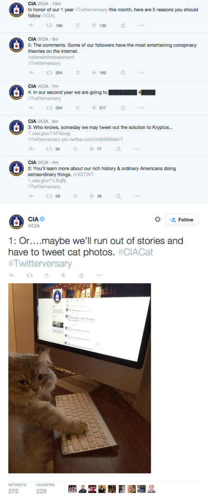 CIA Twitterversary tweets curated by Peter Wade on Tumblr