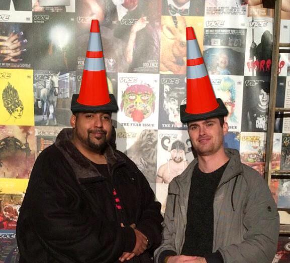 Sabu, Hector X. Monsegur, and Dan Stuckey pictured at the Vice 25th Anniversary Party. Conesec makeover courtesy AnonyMissOps on Twitter