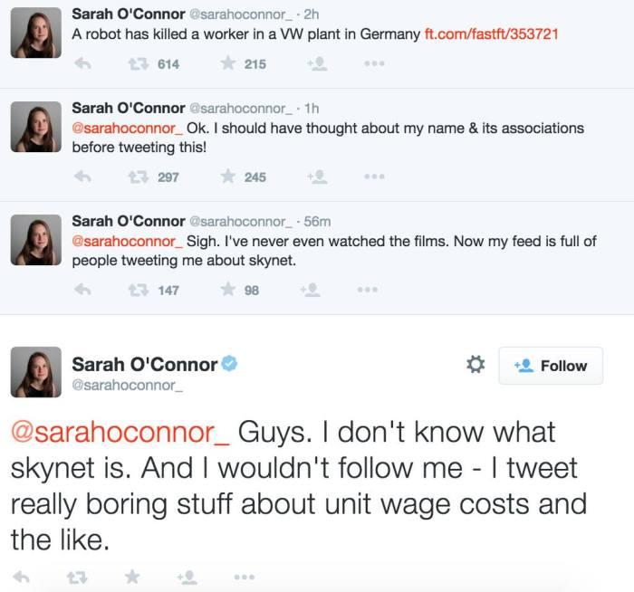 Sarah O'Connor tweets the Robot Uprising. Image via Adrian Lamo on Facebook. Trifecta.