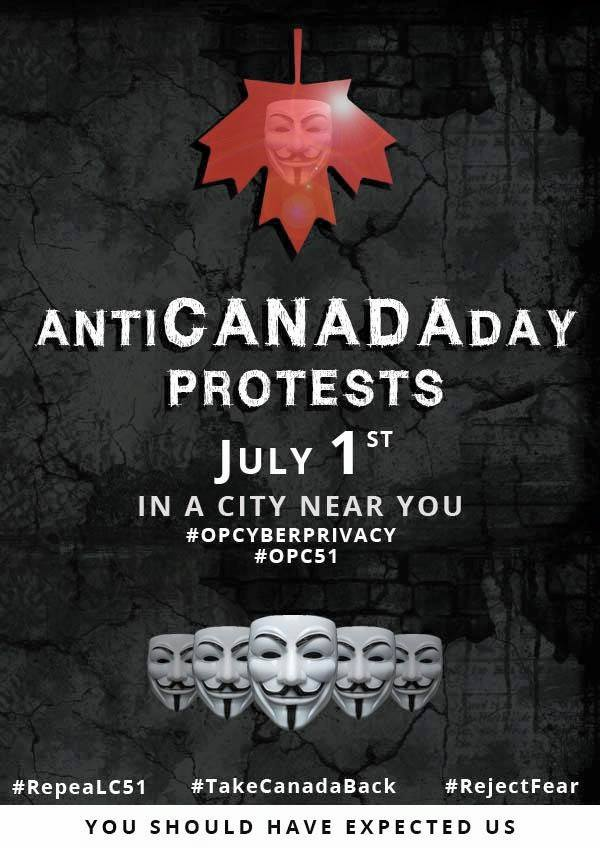 AntiCanadaDay from OpCyberPrivacy of Anonymous via AnonymousVancouver on Facebook