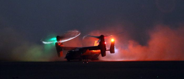 An MV-22 Osprey lands during a personnel recovery training exercise in Southwest Asia, July 28. These training missions are conducted to enhance mission capabilities between U.S. Army aviation and other U.S. military forces. (U.S. Army National Guard photo by Army Sgt. Michael Needham)