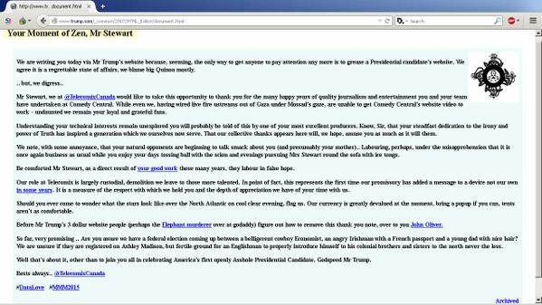 Telecomix Trump Website Deface via Archive.is