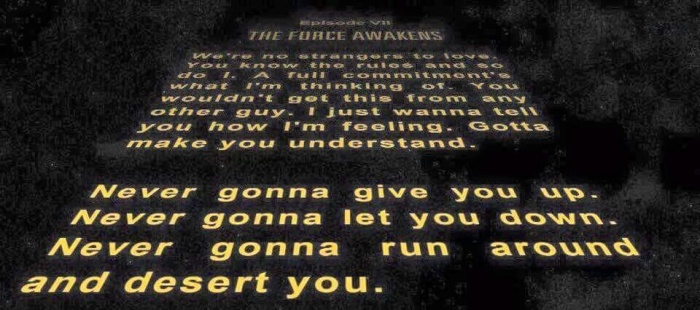 Star Wars Rickroll via Steve Stevenson on Facebook