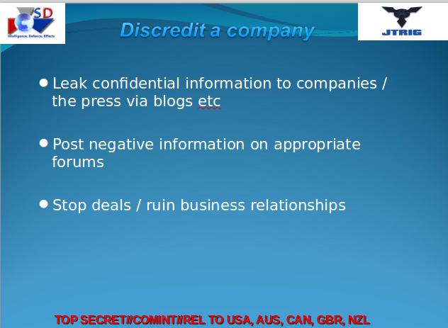 JTRIG discredit companies