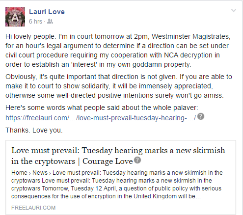 Lauri Love statement on Tuesday hearing, from Facebook